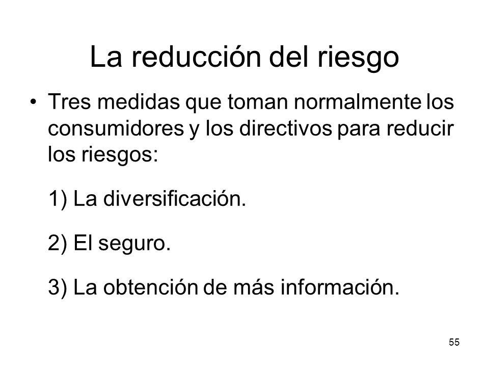 55 La reducción del riesgo Tres medidas que toman normalmente los consumidores y los directivos para reducir los riesgos: 1) La diversificación. 2) El