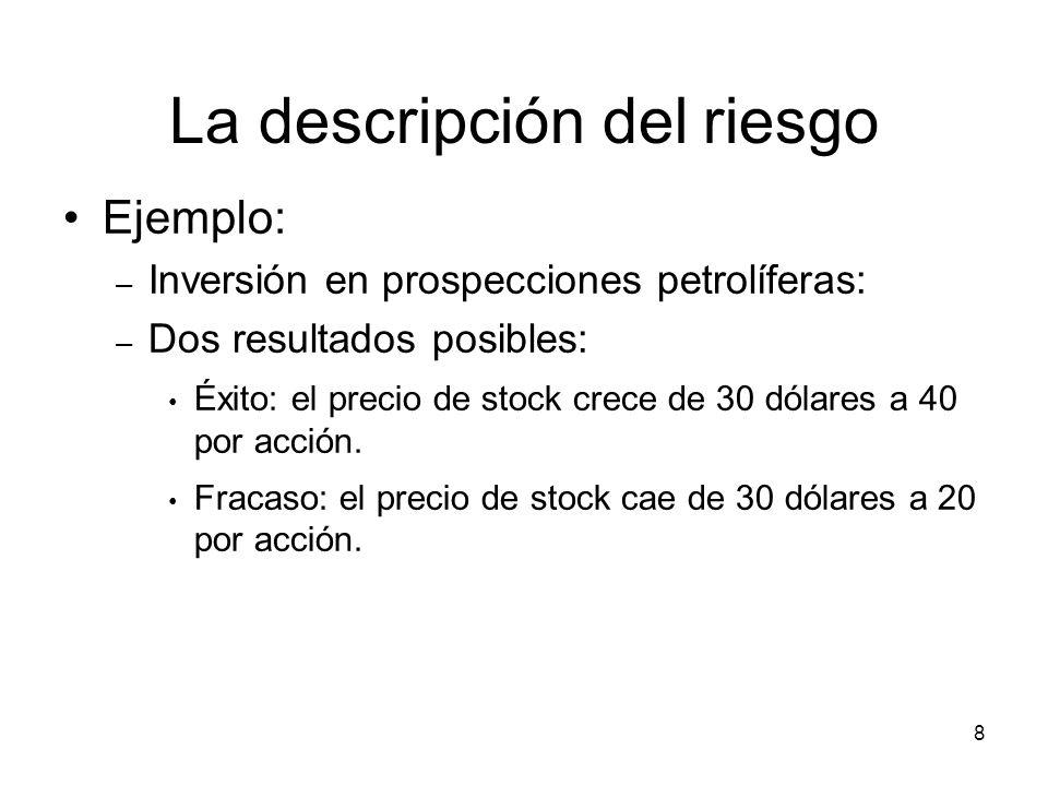 8 La descripción del riesgo Ejemplo: – Inversión en prospecciones petrolíferas: – Dos resultados posibles: Éxito: el precio de stock crece de 30 dólar