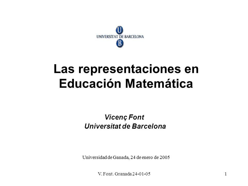 V. Font. Granada 24-01-051 Las representaciones en Educación Matemática Vicenç Font Universitat de Barcelona Universidad de Ganada, 24 de enero de 200