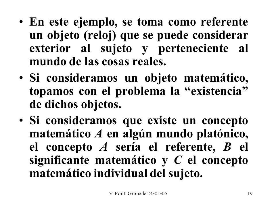 V. Font. Granada 24-01-0519 En este ejemplo, se toma como referente un objeto (reloj) que se puede considerar exterior al sujeto y perteneciente al mu