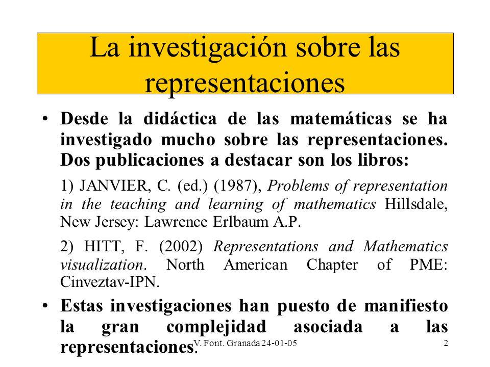 V. Font. Granada 24-01-052 La investigación sobre las representaciones Desde la didáctica de las matemáticas se ha investigado mucho sobre las represe