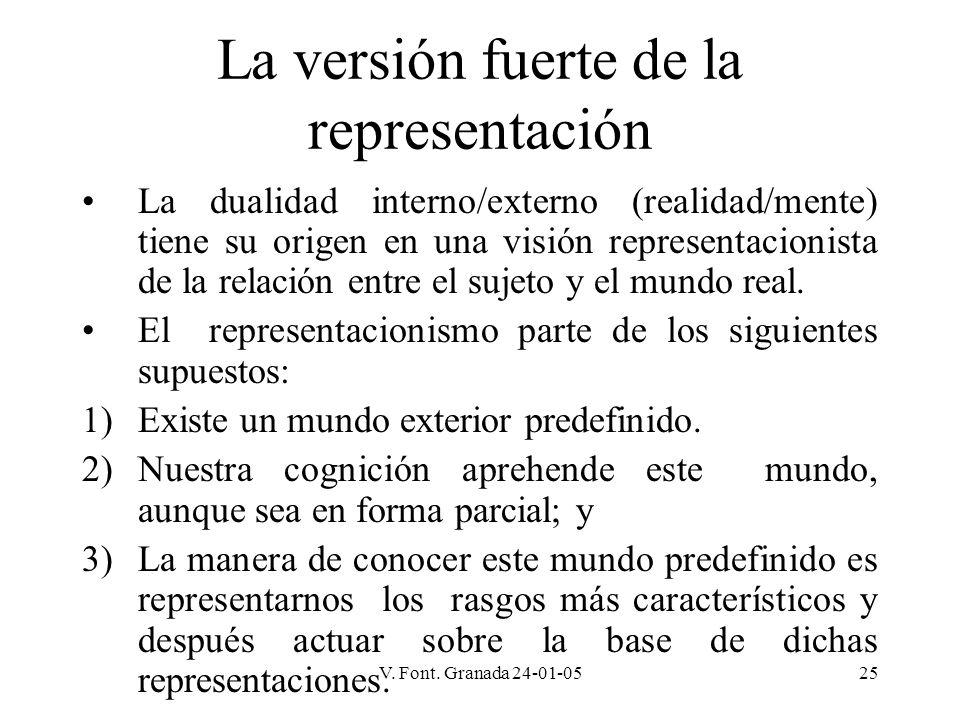 V. Font. Granada 24-01-0525 La versión fuerte de la representación La dualidad interno/externo (realidad/mente) tiene su origen en una visión represen
