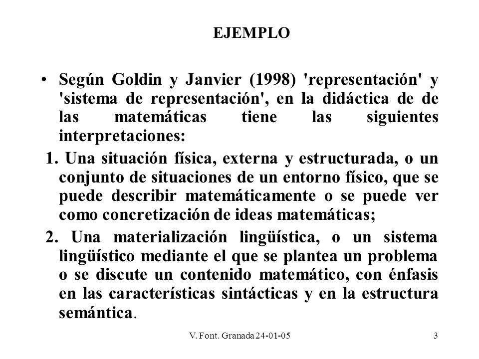 V. Font. Granada 24-01-053 Según Goldin y Janvier (1998) 'representación' y 'sistema de representación', en la didáctica de de las matemáticas tiene l