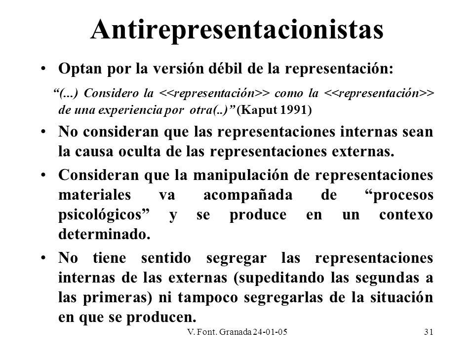 V. Font. Granada 24-01-0531 Antirepresentacionistas Optan por la versión débil de la representación: (...) Considero la > como la > de una experiencia