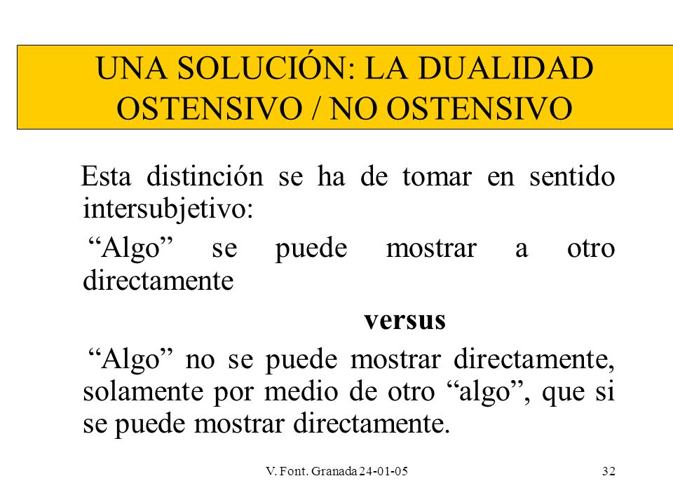 V. Font. Granada 24-01-0532 UNA SOLUCIÓN: LA DUALIDAD OSTENSIVO / NO OSTENSIVO Esta distinción se ha de tomar en sentido intersubjetivo: Algo se puede
