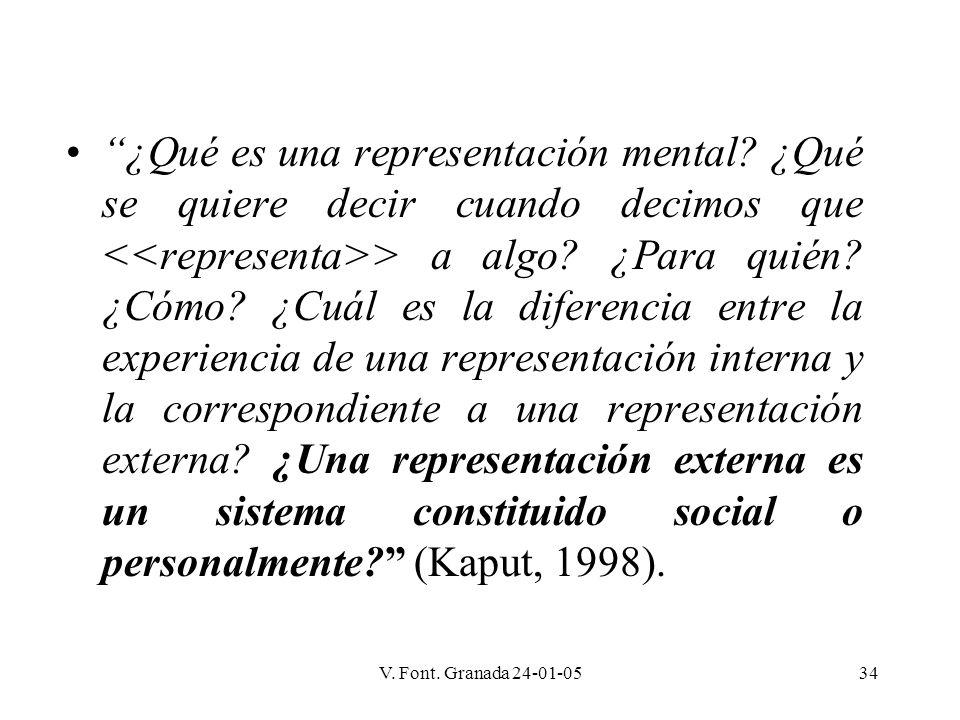 V. Font. Granada 24-01-0534 ¿Qué es una representación mental? ¿Qué se quiere decir cuando decimos que > a algo? ¿Para quién? ¿Cómo? ¿Cuál es la difer