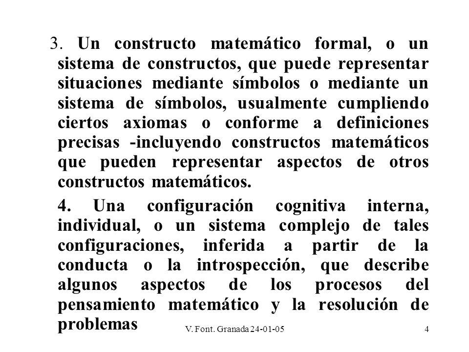 V. Font. Granada 24-01-054 3. Un constructo matemático formal, o un sistema de constructos, que puede representar situaciones mediante símbolos o medi