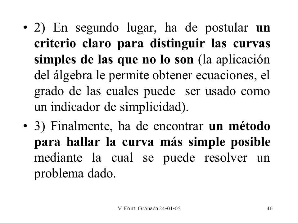 V. Font. Granada 24-01-0546 2) En segundo lugar, ha de postular un criterio claro para distinguir las curvas simples de las que no lo son (la aplicaci