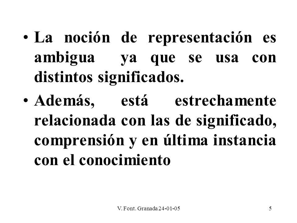 V. Font. Granada 24-01-055 La noción de representación es ambigua ya que se usa con distintos significados. Además, está estrechamente relacionada con