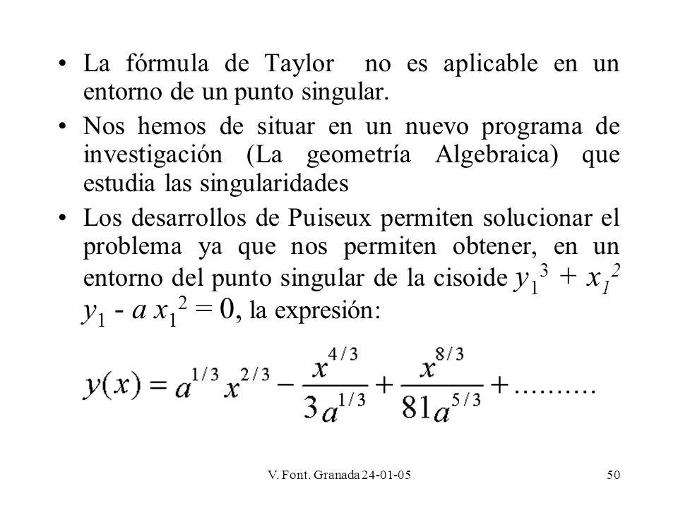 V. Font. Granada 24-01-0550 La fórmula de Taylor no es aplicable en un entorno de un punto singular. Nos hemos de situar en un nuevo programa de inves