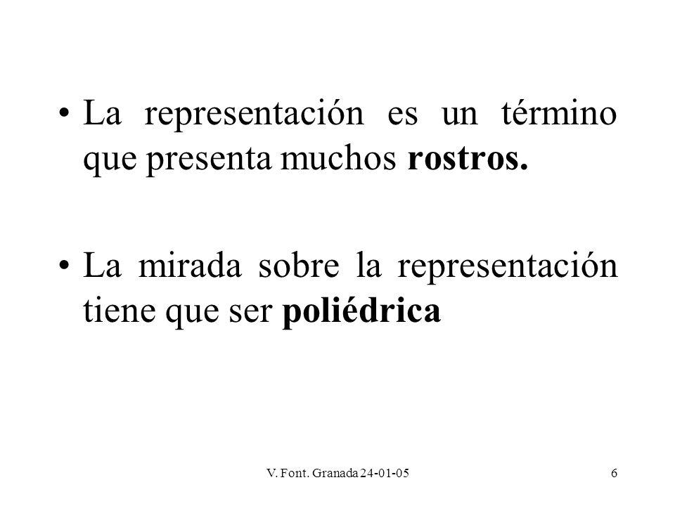 V. Font. Granada 24-01-056 La representación es un término que presenta muchos rostros. La mirada sobre la representación tiene que ser poliédrica