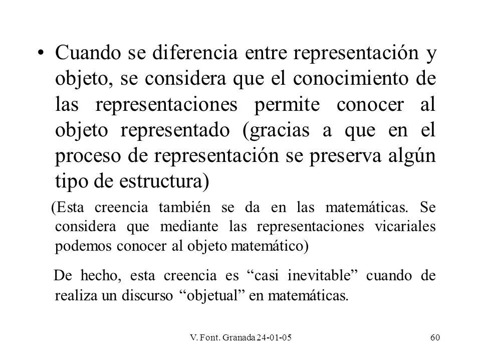 V. Font. Granada 24-01-0560 Cuando se diferencia entre representación y objeto, se considera que el conocimiento de las representaciones permite conoc