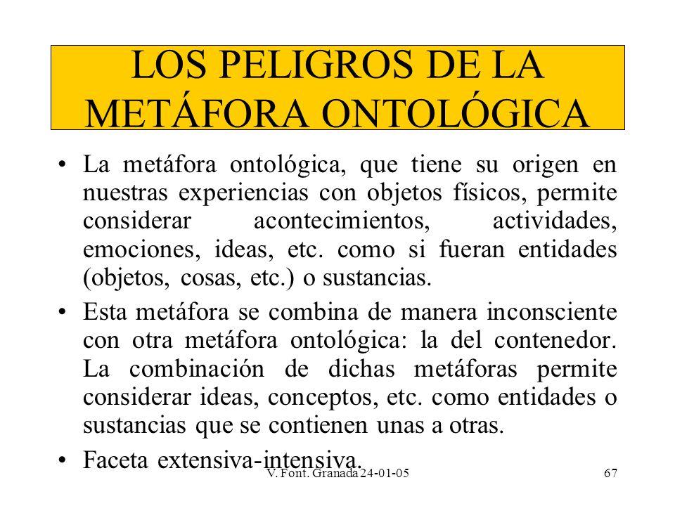 V. Font. Granada 24-01-0567 LOS PELIGROS DE LA METÁFORA ONTOLÓGICA La metáfora ontológica, que tiene su origen en nuestras experiencias con objetos fí