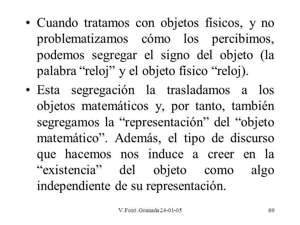 V. Font. Granada 24-01-0569 Cuando tratamos con objetos físicos, y no problematizamos cómo los percibimos, podemos segregar el signo del objeto (la pa