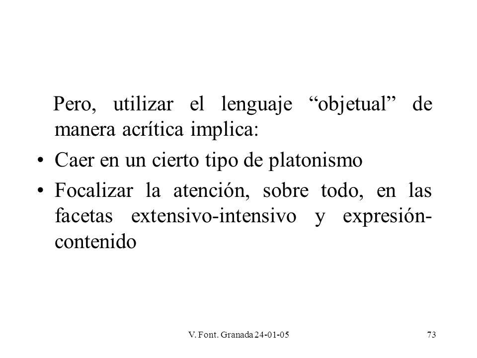 V. Font. Granada 24-01-0573 Pero, utilizar el lenguaje objetual de manera acrítica implica: Caer en un cierto tipo de platonismo Focalizar la atención