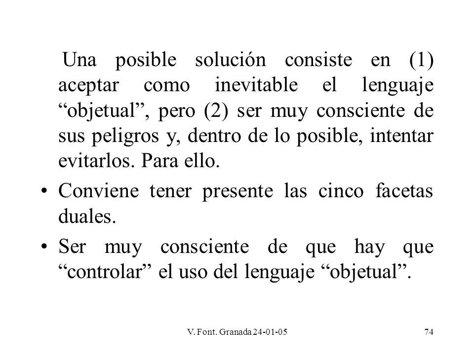 V. Font. Granada 24-01-0574 Una posible solución consiste en (1) aceptar como inevitable el lenguaje objetual, pero (2) ser muy consciente de sus peli