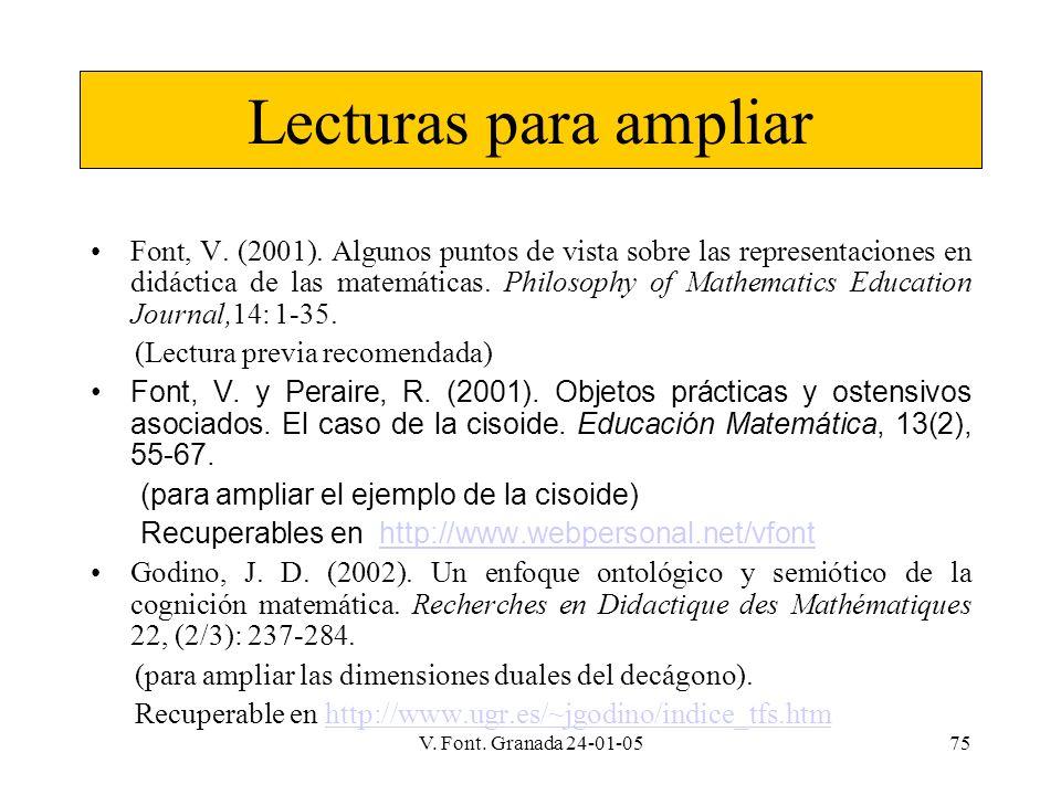 V. Font. Granada 24-01-0575 Lecturas para ampliar Font, V. (2001). Algunos puntos de vista sobre las representaciones en didáctica de las matemáticas.