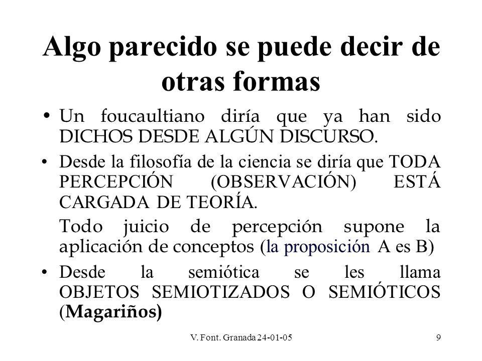 V. Font. Granada 24-01-059 Algo parecido se puede decir de otras formas Un foucaultiano diría que ya han sido DICHOS DESDE ALGÚN DISCURSO. Desde la fi