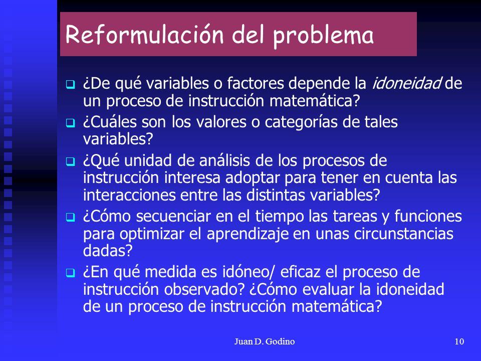 Juan D. Godino10 Reformulación del problema ¿De qué variables o factores depende la idoneidad de un proceso de instrucción matemática? ¿Cuáles son los