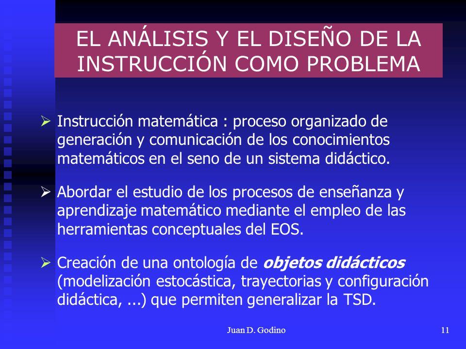 Juan D. Godino11 Instrucción matemática : proceso organizado de generación y comunicación de los conocimientos matemáticos en el seno de un sistema di