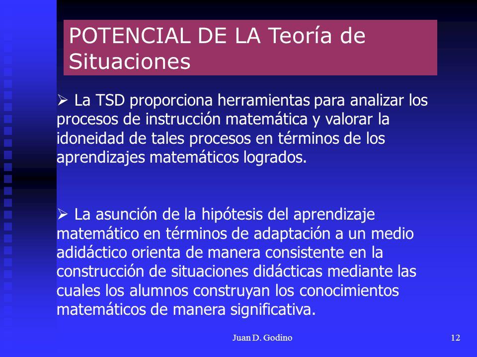 Juan D. Godino12 POTENCIAL DE LA Teoría de Situaciones La TSD proporciona herramientas para analizar los procesos de instrucción matemática y valorar