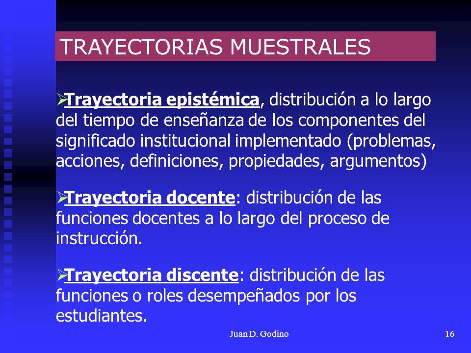 Juan D. Godino16 TRAYECTORIAS MUESTRALES Trayectoria epistémica, distribución a lo largo del tiempo de enseñanza de los componentes del significado in