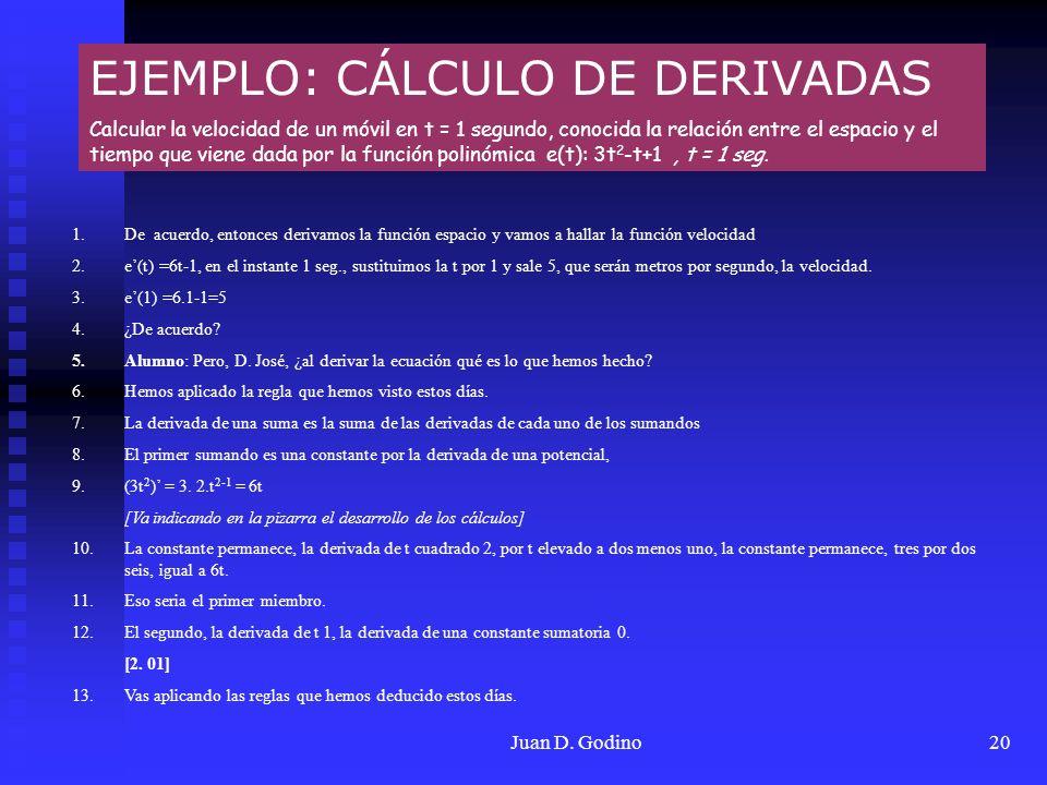 Juan D. Godino20 EJEMPLO: CÁLCULO DE DERIVADAS Calcular la velocidad de un móvil en t = 1 segundo, conocida la relación entre el espacio y el tiempo q