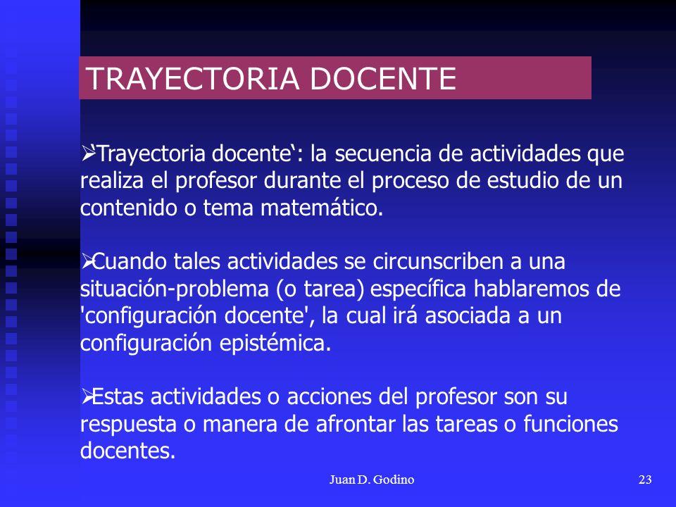Juan D. Godino23 TRAYECTORIA DOCENTE Trayectoria docente: la secuencia de actividades que realiza el profesor durante el proceso de estudio de un cont