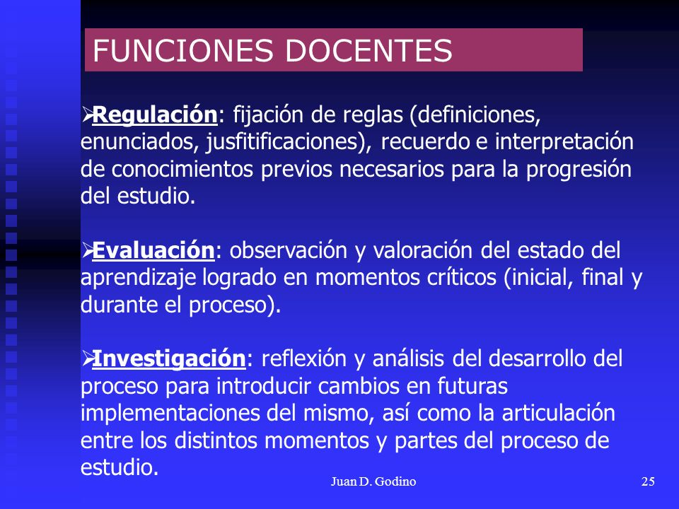 Juan D. Godino25 FUNCIONES DOCENTES Regulación: fijación de reglas (definiciones, enunciados, jusfitificaciones), recuerdo e interpretación de conocim