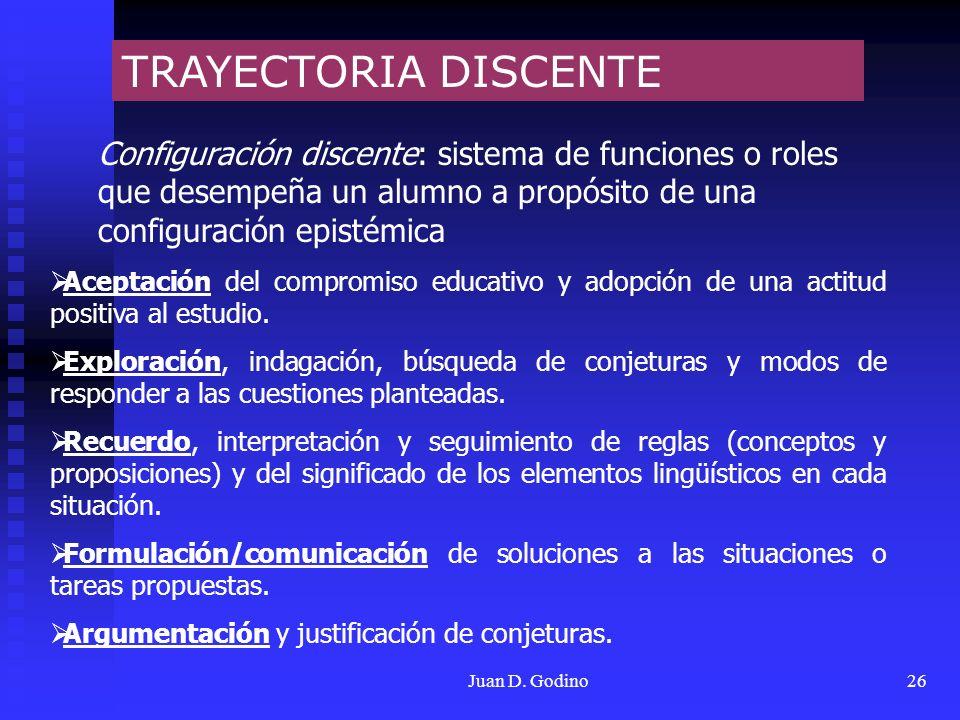 Juan D. Godino26 TRAYECTORIA DISCENTE Configuración discente: sistema de funciones o roles que desempeña un alumno a propósito de una configuración ep