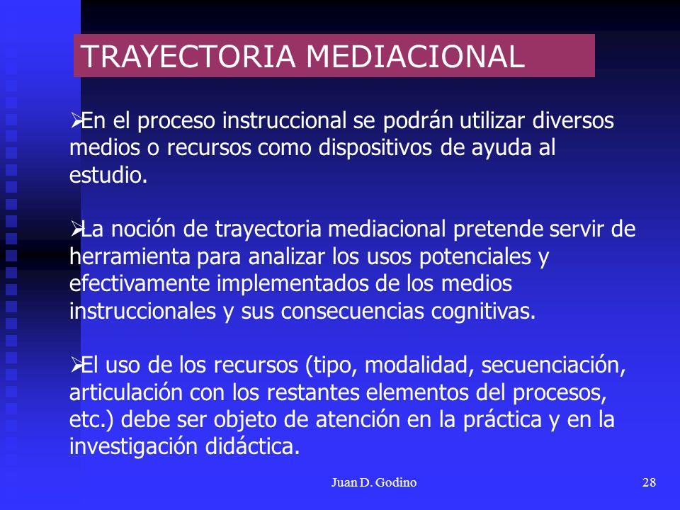Juan D. Godino28 TRAYECTORIA MEDIACIONAL En el proceso instruccional se podrán utilizar diversos medios o recursos como dispositivos de ayuda al estud