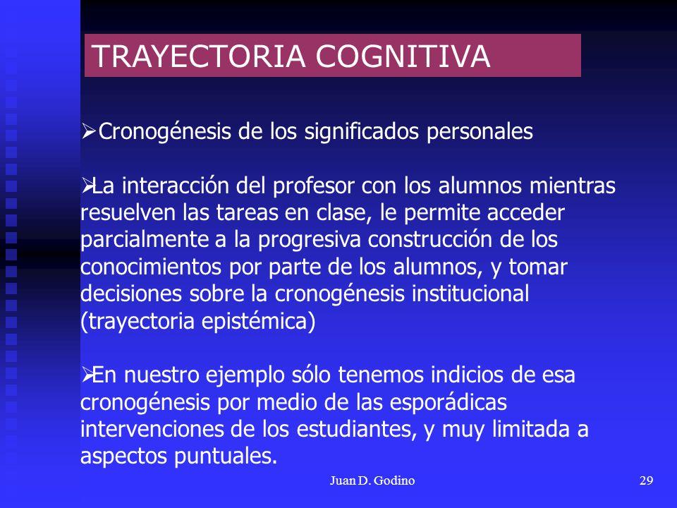 Juan D. Godino29 TRAYECTORIA COGNITIVA Cronogénesis de los significados personales La interacción del profesor con los alumnos mientras resuelven las