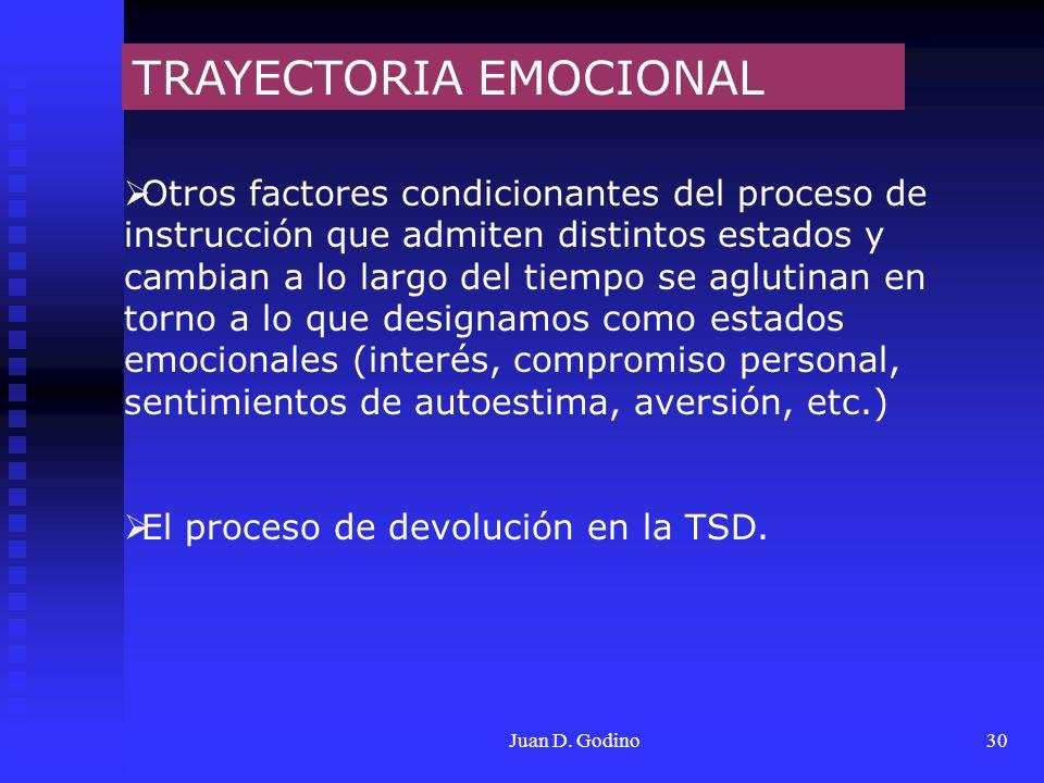 Juan D. Godino30 TRAYECTORIA EMOCIONAL Otros factores condicionantes del proceso de instrucción que admiten distintos estados y cambian a lo largo del