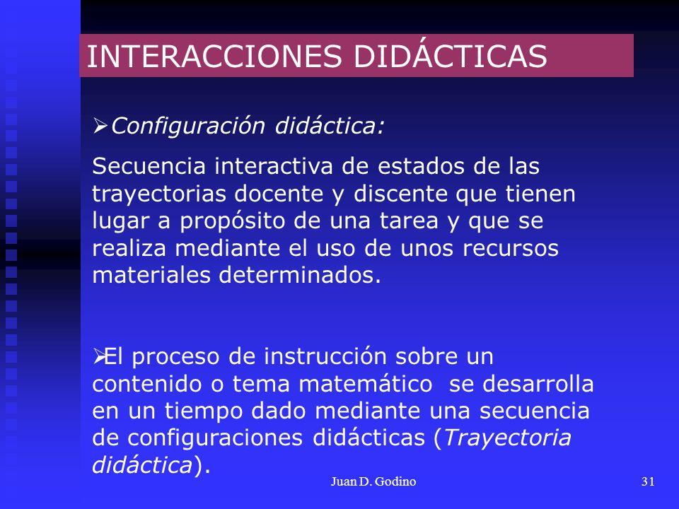 Juan D. Godino31 INTERACCIONES DIDÁCTICAS Configuración didáctica: Secuencia interactiva de estados de las trayectorias docente y discente que tienen