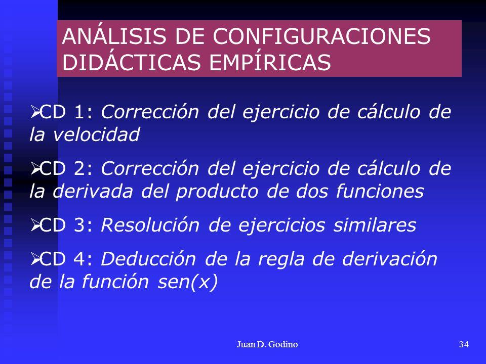 Juan D. Godino34 ANÁLISIS DE CONFIGURACIONES DIDÁCTICAS EMPÍRICAS CD 1: Corrección del ejercicio de cálculo de la velocidad CD 2: Corrección del ejerc