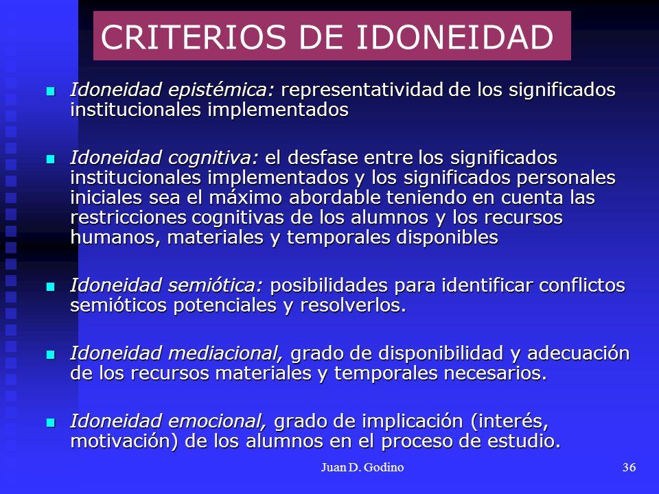 Juan D. Godino36 CRITERIOS DE IDONEIDAD Idoneidad epistémica: representatividad de los significados institucionales implementados Idoneidad epistémica
