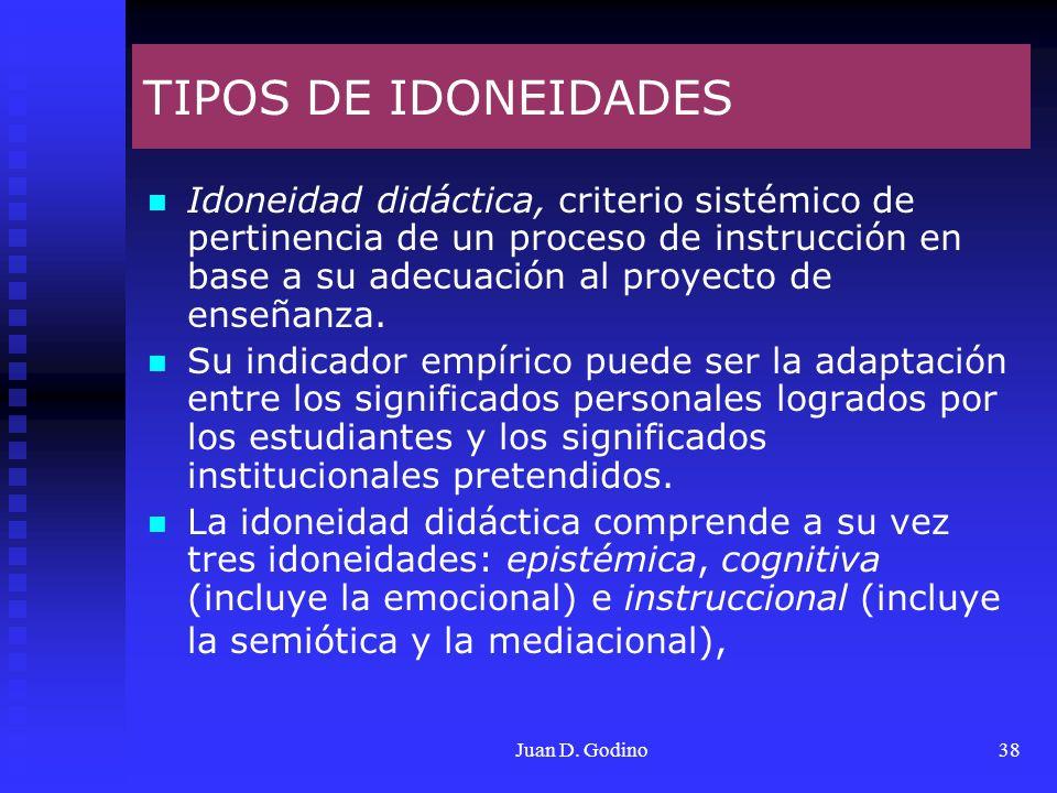 Juan D. Godino38 TIPOS DE IDONEIDADES Idoneidad didáctica, criterio sistémico de pertinencia de un proceso de instrucción en base a su adecuación al p