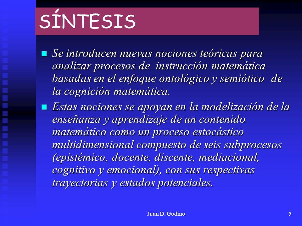 Juan D. Godino5 SÍNTESIS Se introducen nuevas nociones teóricas para analizar procesos de instrucción matemática basadas en el enfoque ontológico y se