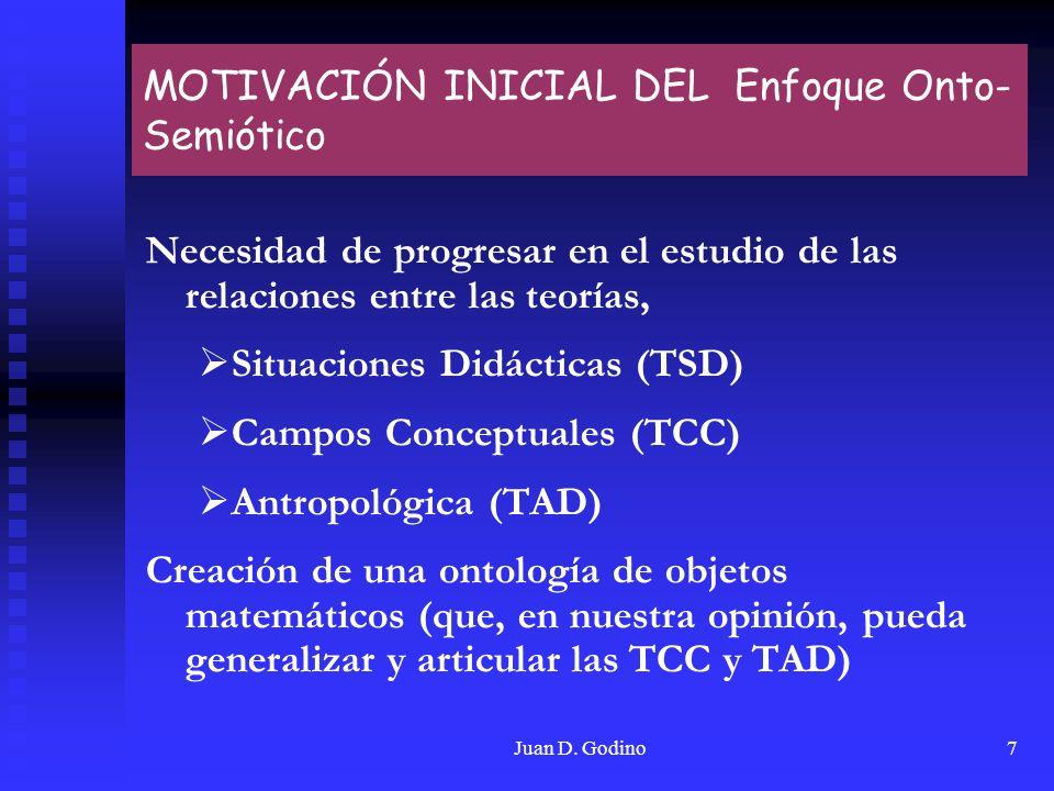 Juan D. Godino7 MOTIVACIÓN INICIAL DEL Enfoque Onto- Semiótico Necesidad de progresar en el estudio de las relaciones entre las teorías, Situaciones D