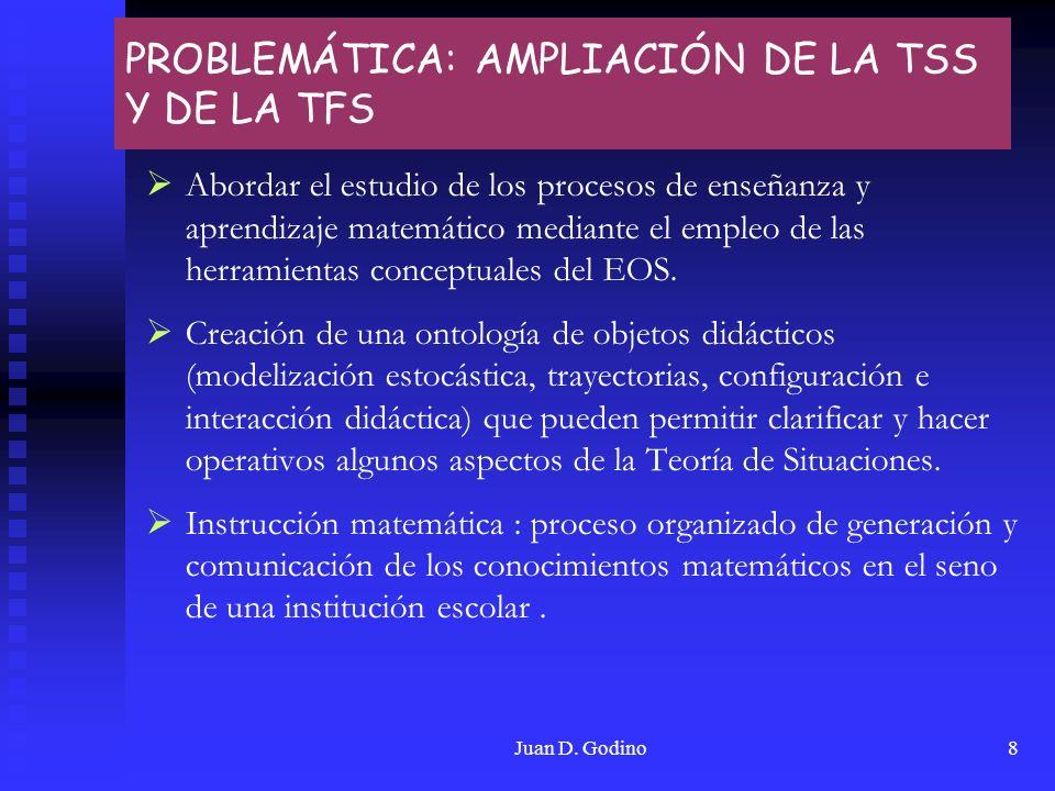 Juan D. Godino8 PROBLEMÁTICA: AMPLIACIÓN DE LA TSS Y DE LA TFS Abordar el estudio de los procesos de enseñanza y aprendizaje matemático mediante el em