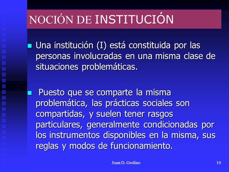 Juan D. Godino10 NOCIÓN DE INSTITUCIÓN Una institución (I) está constituida por las personas involucradas en una misma clase de situaciones problemáti