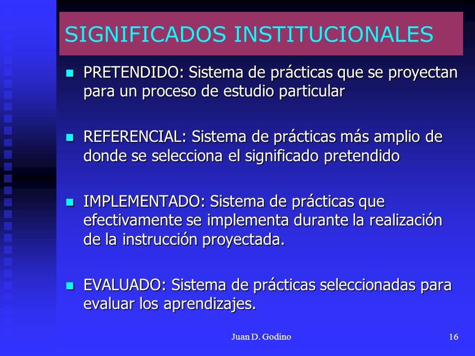 Juan D. Godino16 SIGNIFICADOS INSTITUCIONALES PRETENDIDO: Sistema de prácticas que se proyectan para un proceso de estudio particular PRETENDIDO: Sist