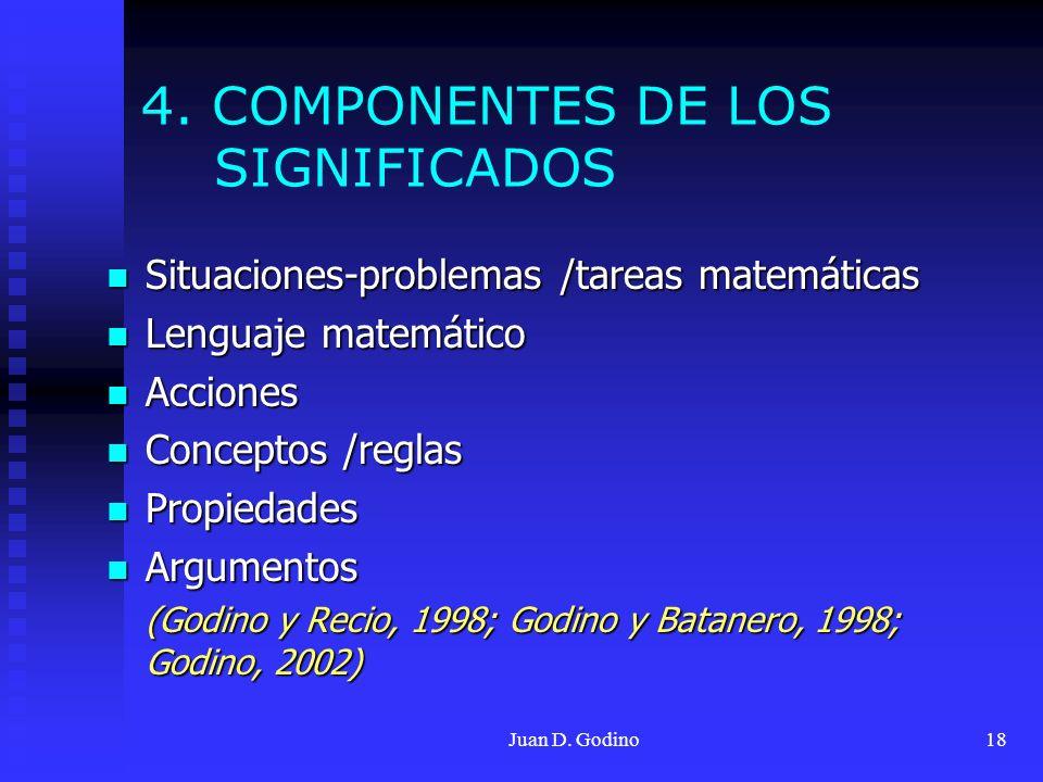 Juan D. Godino18 4. COMPONENTES DE LOS SIGNIFICADOS Situaciones-problemas /tareas matemáticas Situaciones-problemas /tareas matemáticas Lenguaje matem