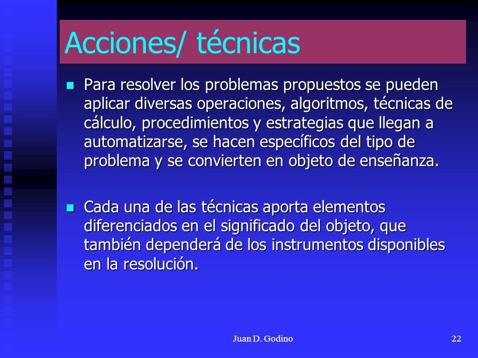 Juan D. Godino22 Acciones/ técnicas Para resolver los problemas propuestos se pueden aplicar diversas operaciones, algoritmos, técnicas de cálculo, pr