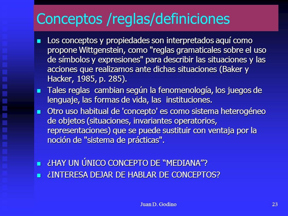 Juan D. Godino23 Conceptos /reglas/definiciones Los conceptos y propiedades son interpretados aquí como propone Wittgenstein, como