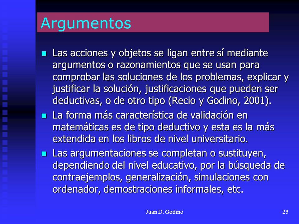 Juan D. Godino25 Argumentos Las acciones y objetos se ligan entre sí mediante argumentos o razonamientos que se usan para comprobar las soluciones de