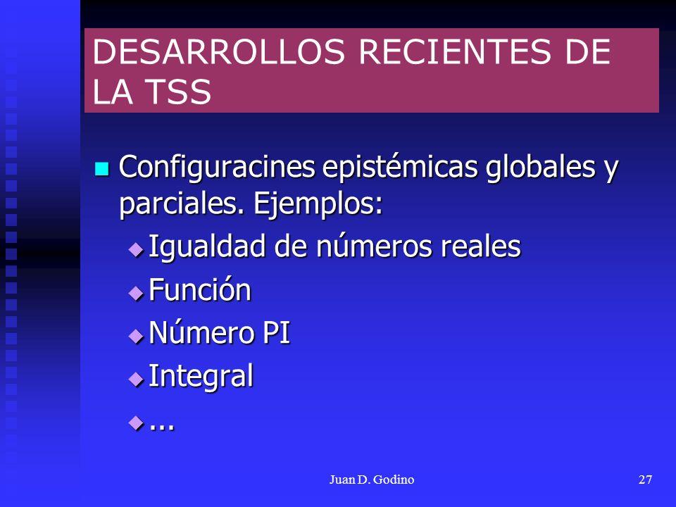 Juan D. Godino27 DESARROLLOS RECIENTES DE LA TSS Configuracines epistémicas globales y parciales. Ejemplos: Configuracines epistémicas globales y parc