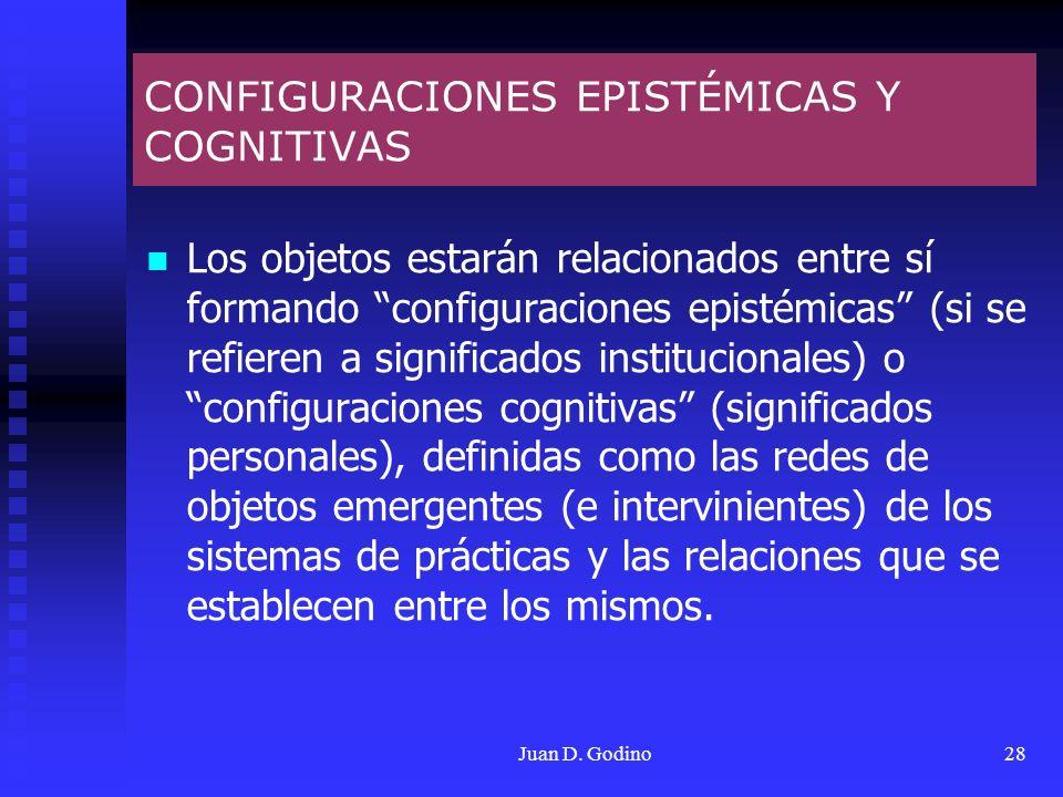 Juan D. Godino28 CONFIGURACIONES EPISTÉMICAS Y COGNITIVAS Los objetos estarán relacionados entre sí formando configuraciones epistémicas (si se refier
