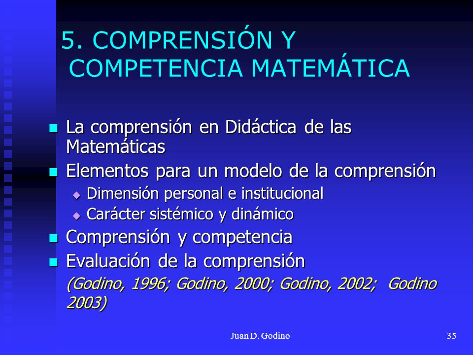 Juan D. Godino35 5. COMPRENSIÓN Y COMPETENCIA MATEMÁTICA La comprensión en Didáctica de las Matemáticas La comprensión en Didáctica de las Matemáticas