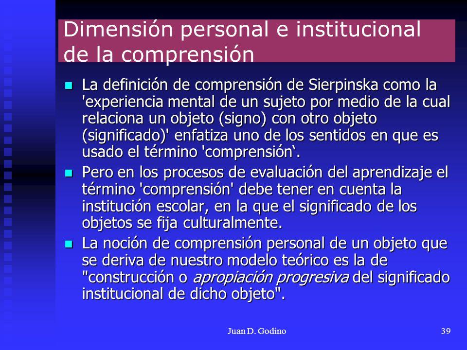 Juan D. Godino39 Dimensión personal e institucional de la comprensión La definición de comprensión de Sierpinska como la 'experiencia mental de un suj